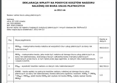 Deklaracja wpłaty do KNF