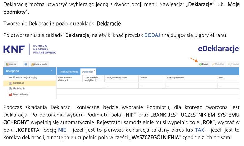 jak złożyć e-deklarację do KNF